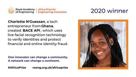 Charlette N'Guessan remporte le prix de l'Académie royale  d'ingénierie d'Afrique pour l'innovation en ingénierie.